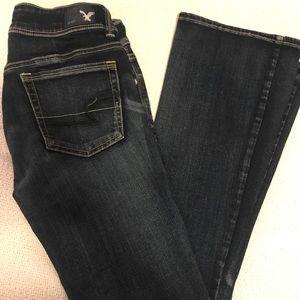 AE dark wash stretch jeans